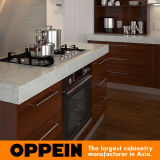 Armadio da cucina modulare della melammina di legno moderna del Brown con l'isola (OP15-M08)