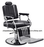 Salon-Herrenfriseur-Stuhl für Mann mit Edelstahl-Armlehnen-und Aluminium-Pedal