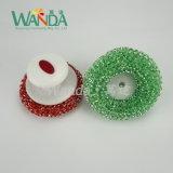 다채로운 부엌 손잡이를 가진 플라스틱 청소 메시 수세미