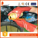 Longue manchette Dpv507 de gant rouge de PVC