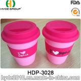 Tasse de café réutilisable de course de tasse de course avec le couvercle de silicium et la bande (HDP-3028)