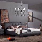 Mobilia moderna di cuoio nera dell'insieme di camera da letto del salone della mobilia dell'hotel della casa della base di sofà, Fb3079