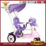 Дешевый цветастый трицикл металла младенца 2016 с задним сиденьем, зонтиком