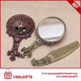Espejo redondo cosmético del bolsillo del metal de Rose con el conjunto del peine del pelo