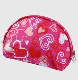 Sac cosmétique transparent estampé par coeur réglé en gros bon marché de sac de renivellement d'article de toilette