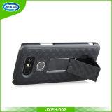 Caixa do telefone de pilha para LG G6 com preto duro da cor da tampa de Kickstand do suporte do grampo da correia