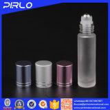 bottiglia di profumo di vetro glassato 10ml con il rullo dell'acciaio inossidabile e la protezione del metallo