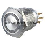 19mm momentáneo 1NO1NC impermeable del acero inoxidable interruptor de botón