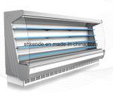 Showcase do congelador com a cortina de ar para o varejo e o indicador