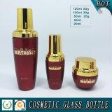 Vasi cosmetici di vetro colorati rossi di vetro della bottiglia e della crema di olio