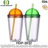 24oz plastic het Drinken van het Sap Fles, de Vrije Dubbele Plastic Tuimelschakelaar van de Muur BPA met Stro voor Partij (hdp-3032)