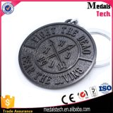 Preço de fábrica Keychain de prata antigo feito sob encomenda com gravura