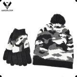 As forças armadas do inverno dos homens camuflam o chapéu e a luva do Knit do jacquard