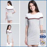 Moda vestido túnica de algodón de manga corta