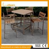 InnenKaffeestube-Garten-Patio-Möbel-hölzernes Aluminiumstab-Stuhl-Tisch-Plastikset