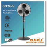 16 Zoll-oszillierender Standplatz-Ventilator mit Fernsteuerungs (metallischer Titanfarbanstrich)
