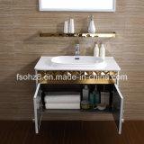 Vanité de salle de bain en acier inoxydable de style Golden White avec étagère (081)