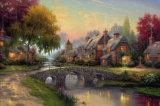 夜のCanvasoilの絵画(モデルNo.の美しいヨーロッパの村の景色: Hx-4-025)