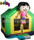 Casa gonfiabile di rimbalzo del fumetto di Dora con la bandiera mobile