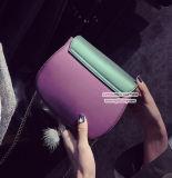 Fabrik-preiswerter Preis-neue Ankunfts-Schulter-Beutel PU-Kontrast-Farben-Handtasche mit Kette für Damen Sy8175