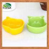 La cerámica sólida del habitat de los hámsteres del estilo del verde amarillo del modelo del hámster juega el crisol del alimento del agua