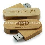 Azionamento di legno dell'istantaneo del USB della parte girevole di memoria Flash di Thumbdrive del bastone del USB