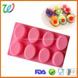 8 moulages ovales de traitement au four de silicones de gâteau de pain de cavité