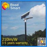 Tudo em uma luz de rua solar para a lâmpada do diodo emissor de luz 15W com bateria de Li