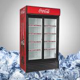 Коммерчески стеклянный холодильник индикации напитка двери