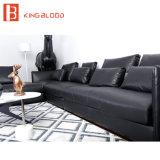 Schwarze Farbe italienisches echtes L Form-Leder-Schnittsofa-Couch