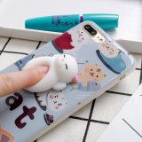 Caixa Squishy do telefone dos desenhos animados do gato 3D para iPhone7 7plus