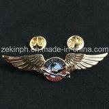 주문 금속 조종사 날개 모양 접어젖힌 옷깃 Pin