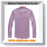 Chemise de coton teinte par filé du polyester 35 du plaid 65 de mode de créateur
