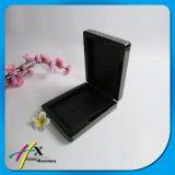 Couro falsificado do preto da Carbono-Fibra dentro do jogo luxuoso de madeira da caixa de jóia