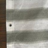 Anti-UVbalkon-Farbton-Netze, Graues und weißes Streifen HDPE gestrickte Raschel Filetarbeit