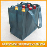 Sacchetto su ordinazione rosso del vino della bottiglia della stampa 6 (BLF-NW134)