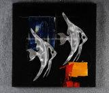 سمكة تجريديّ استوائيّة [هندمد] ألومنيوم [رليفو], معدن جدار فنية/زخرفة