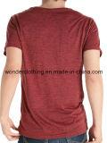 Polyester mou bon marché/T-shirt plat d'hommes cou du coton V