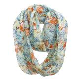 Sciarpa chiffona di estate di infinità della signora Fashion Flower Printed Polyester (YKY1106)