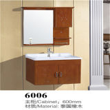 Vanidad de madera montada en la pared del cuarto de baño del diseño simple