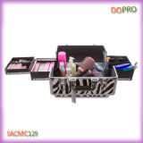 Zebra Pattern Vanity Case Large Size Train Carry Make up Suitcase (SACMC129)
