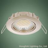 Diodo emissor de luz Recessed fundido niquelar Downlight do dispositivo elétrico claro de teto do cetim inclinação de alumínio