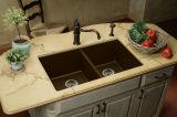 Bacia composta branca do dissipador da embarcação da cozinha do granito
