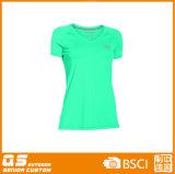 여자의 달리기 건조한 적합 t-셔츠