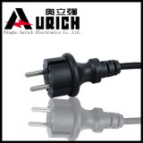 Plugue do cabo de potência 2pin da UE dos cabos de potência da C.A. do VDE Non-Rewireble com cabo H05VV-F