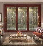 Nette Entwurfs-rote Sandelholz-hölzerne Farben-Glasaluminiumschiebetür