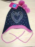 Шлем способа девушки & шарф & перчатки связанные кристаллом на зима