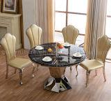 Tabella pranzante di marmo del nero di figura rotonda con le presidenze