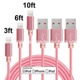 3FT 6FT 10FT Cable trenzado de nylon del cable del relámpago Cable de carga adicional del cable del USB para el iPhone 6s, 6s más, 6plus, 6,5s 5c 5, mini del iPad, aire, iPad5, iPod en Ios9 (color de rosa)