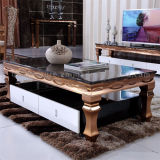 Mesa de centro de lujo del color del oro moderna con la tapa de mármol
